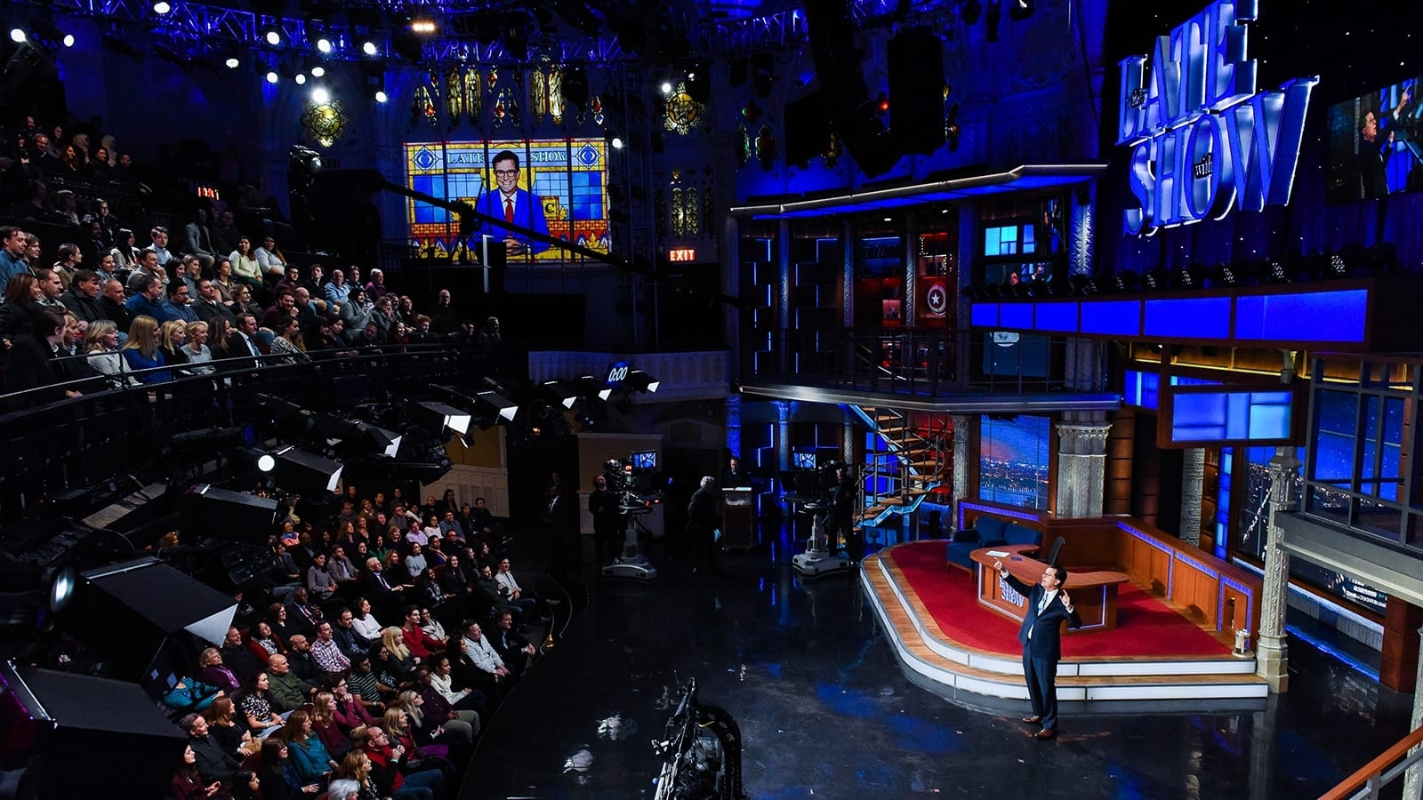 Stephen Colbert addresses an audience during filming for The Late Show