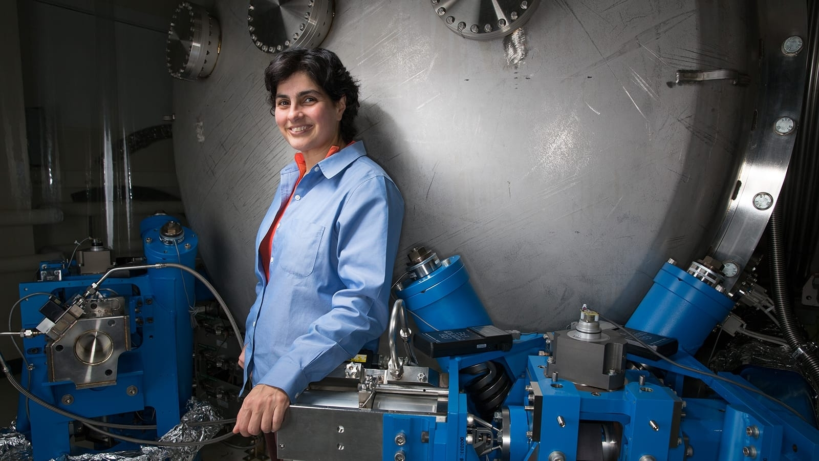 Nergis Mavalvala stands in her lab at the Massachusetts Institute of Technology